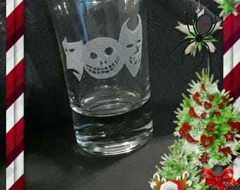 Nightmare B4 Christmas etched shot glass art
