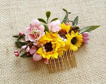 sunflower hair clip, yellow hair flower, floral hair comb, pink hair flower, sunflower wedding, rustic woodland headpiece, floral hair clip