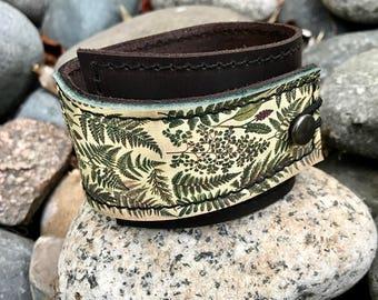 Leather Cuff Wrap Women's Bracelet, Vintage Ferns Digital Photo Print on 100% Genuine Leather * SALE * Coupon Codes