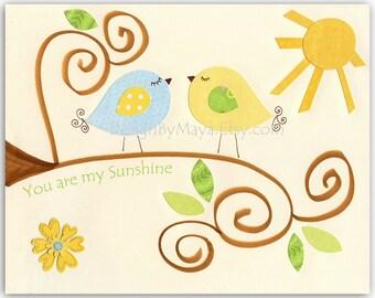 You Are My Sunshine Wall Hanging // Baby Boy // Baby Room Wall Art // Nursery Wall Art // Nursery Love Birds // Blue Yellow
