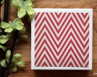 Coaster - Tile Coaster - Chevron Decor - Coasters for Drinks - Coasters Tile - Handmade Coasters - Red Coasters - Chevron Coasters