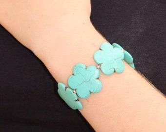 Howlite Flower Bracelet - Turquoise Flower Bracelet - Howlite Silver Bracelet - Turquoise Silver Bracelet - Howlite Turquoise Bracelet