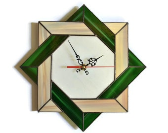 Rustic Modern Celtic Knot Wall Clock Unique Stained Glass Home Decor Style Modern Art Accent