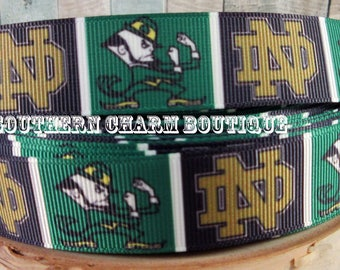 "3 yards of 7/8"" Notre Dame Fighting Irish grosgrain  ribbon"