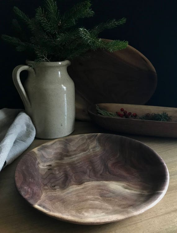 round serving platter hand carved from black walnut *free shipping