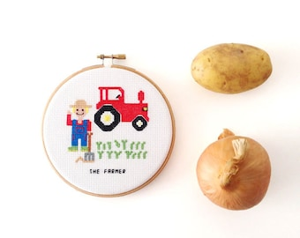 Completed needlepoint portrait farmer with tractor. Modern embroidery Custom farm gift. Farmhouse cross stitch gift farmers wife.