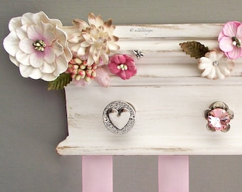 "Antiqued White Hair Bow Organizer 10"", Farm House Rustic, Pink Flower Bow Holder, Nursery Decor, Gift Baby Girl"