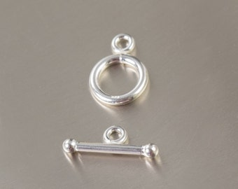 Sterling silver toggle clasp bar and ring closed loop (1 set)