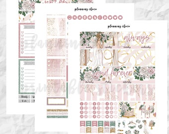 wedding anniversary month printable planner stickers /EC vertical monthly kit / ECLP / pdf, jpg, cut files