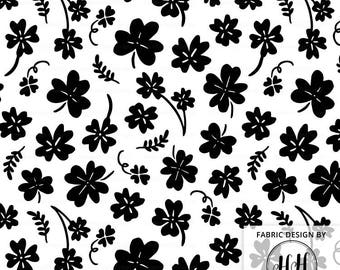 Clover Fabric in Black and White | St. Patrick's Day Fabric | Four Leaf Clover Lucky | Shamrock Fabric Print by the Yard & Fat Quarter