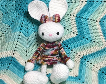 Amigurumi Sweet girl Easter bunny rabbit stuffed animal plushie