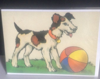 Let's Play - Lovely Bright Graphic of Dog with Ball - Vintage Card Repro Terrier