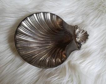 Footed Silver Shell Dish, Sea Shell Bowl