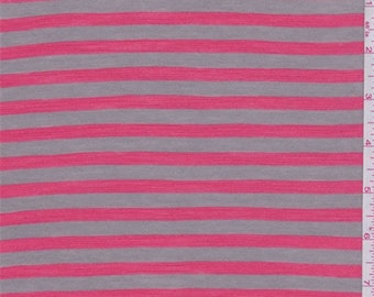 Cocoa/Coral Stripe Rayon Jersey Knit, Fabric By The Yard