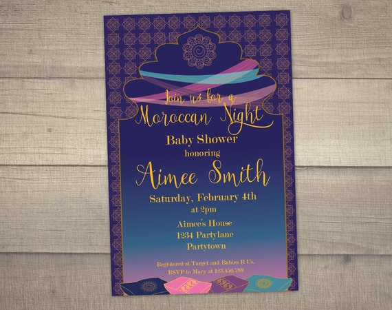 Moroccan Night Baby Shower Moroccan Invitation Arabian