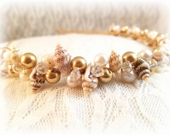 Seashell Freshwater Pearl & Swarovski Crystal Bridal Headband, Seashell Headband, Seashell Crown, Beach Wedding, Seashell Headpiece