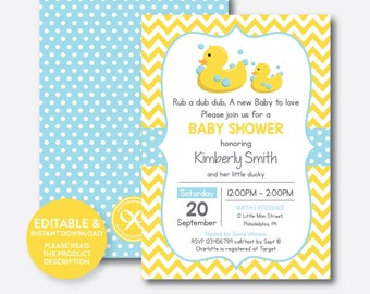 Duck baby shower etsy instant download editable rubber duck baby shower invitation rubber duck invitation yellow duck filmwisefo