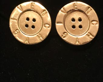 Vintage Givenchy Button Logo Earrings
