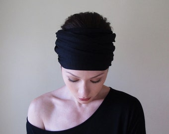 BLACK Headband, Extra Wide Head Scarf, Boho Headband, Boho Headscarf, Black Jersey Head Scarf, Extra Wide Head Scarf, Alopecia Head Wrap