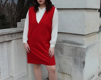 Vintage Red Wool Sleeveless V-Neck Dress woth Pockets
