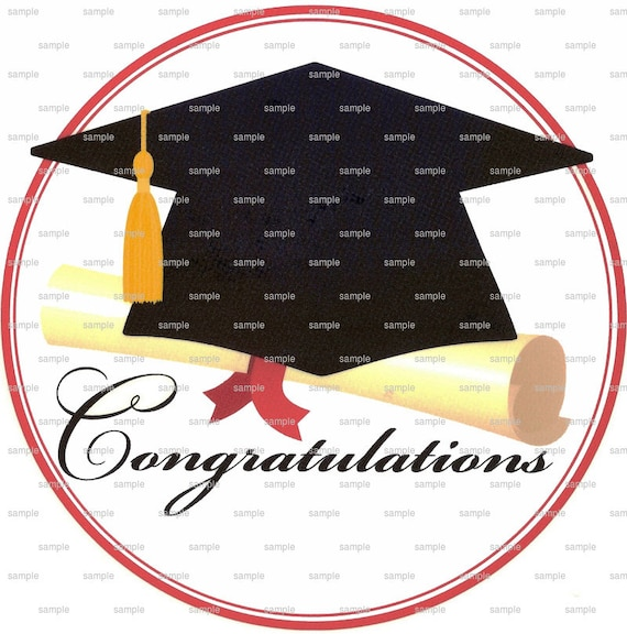 Congratulations Graduate Cap & Diploma - Edible Cake and Cupcake Topper For Birthday's and Parties! - D1893