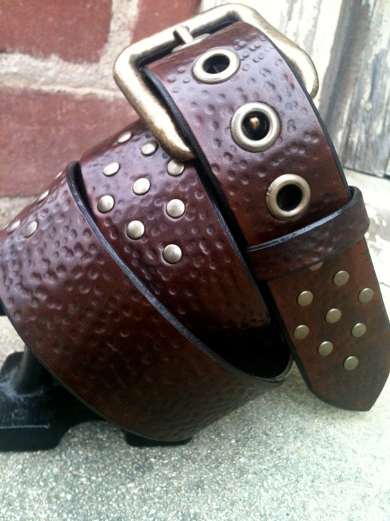 Hammered Bohemian Diamond Handcrafted Leather Belt