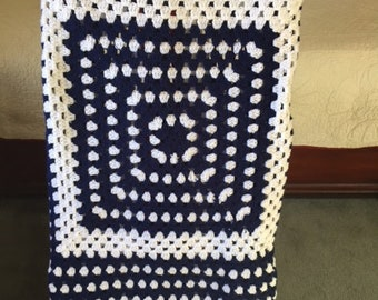 Homemade Granny Square Afghan - Blue, White, Red
