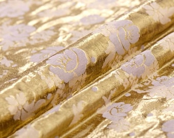 "silk cotton fabric, lurex jacquard, golden fabric 44""  24 mm, special fabric for dresses, skirt, outfits ,by the yard"
