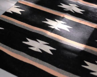 Handwoven Black and Blush Wool Rug from Oaxaca