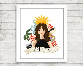 Custom Illustration with Favorite Things | Hand Illustrated | Personalized Illustration | Gift Idea | Portrait Illustration | My Fave Things