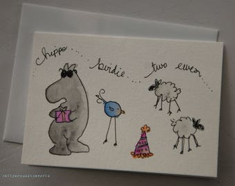Hippo Birdie (Happy Birthday) Hand drawn and painted Watercolor Greeting Card