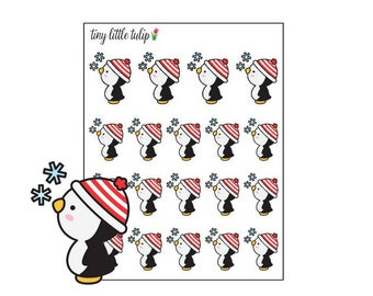 Planner Stickers Christmas Penguin w/ Snowflakes