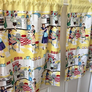 Yellow and white gingham retro scene Kitchen panels tiers choose size