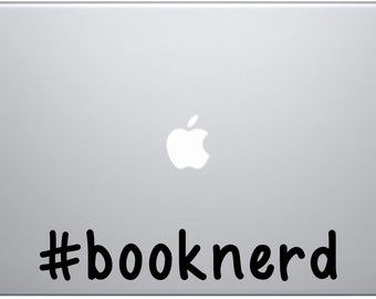 book nerd decal / books / book lover / hashtag / nerd / geek / love / decal / book / fantasy / fiction / young adult