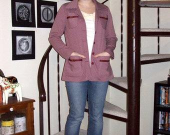 Vintage maroon houndstooth jacket - small/medium