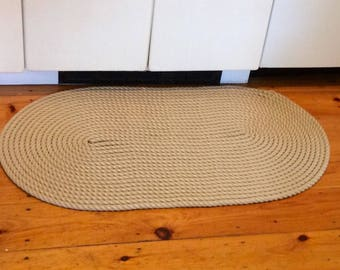 NAUTICAL ROPE MAT handmade and sewn hemp look a like rope sandy coloured mat