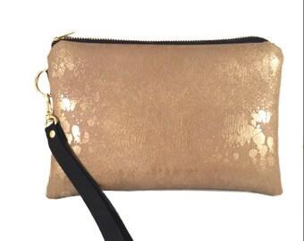 Gold Vegan Leather Wristlet, iPhone wallet, Vegan Leather clutch, Cellphone wristlet, Gift for Her, Evening Bag