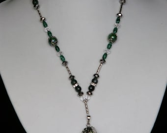 Rough Flourite Partly Coated in Silver Necklace with Emerald, Malachite & Swarvosky Beads