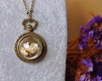 Wonderland compass * vial bronze compass dried flowers terrarium pendant