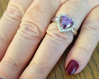 Amethyst Heart and Zircon Sterling Silver Ring