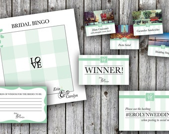 Mint Green Philadelphia Love Themed Bridal Shower Materials: Bridal Bingo, Food Labels and More!
