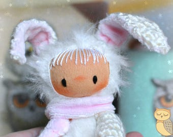 Miniature bunny, crochet tiny bunny, waldorf doll, amigurumi tiny rabbit, little bunny doll, home decor, Easter decoration, plush toy