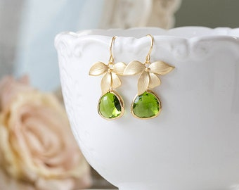 Peridot Green Earrings, August Birthstone Jewelry, August Birthday Gift, Gold Orchid Flower Earrings Green Wedding Earrings, Bridesmaif gift
