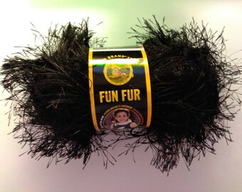 Lion Brand Fun Fur Yarn: Black
