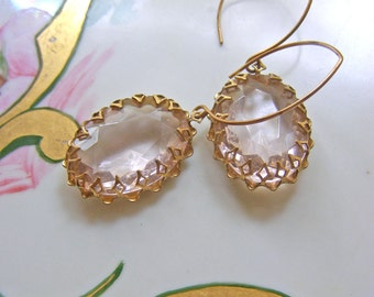 Victorian Style Earrings, Statement Earrings, Pale Pink Earrings, Jewelry Gift, Romantic Earrings, Pink Crystal Earrings