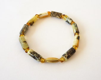Old Baltic Amber Bracelet, 18K Gold, old gold bead, Yellow Amber - Unique Fine Jewelry