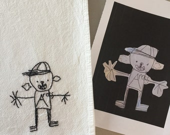 Flour sack towel, hand-embroidered: Personalized and Custom Kids' Artwork