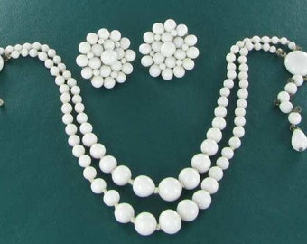 Vintage Milk Glass Necklace Earring Demi - Marked Japan Mid Century jewelry