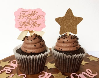 Twinkle Twinkle Little Star Cupcake Toppers - Pink and Gold Glitter Baby Girl Birthday/Baby Shower