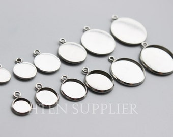100pcs stainless steel Pendant Blank - Round Pendant Setting - stainless steel pendant blank, stainless steel pendant base - Bezel Cup